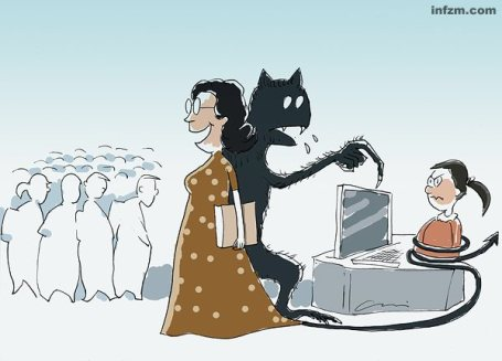 """Viñeta publicada por el Nanfang Zhoumo. """"¿Los hijos de los profesores tienen muy mala suerte?"""". Autor Liang Weichi (梁伟驰)"""