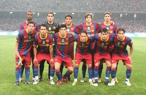 El equipo titular del Barça en el Estadio del Nido.