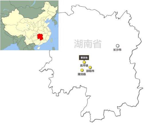 Mapa elaborado por Caixin donde se muestran las zonas más afectadas por este fenómeno. Todas ellas pertenecen al condado de Longhui (隆回), con una superficie de 2.866 kilómetros cuadrados y unos 10 millones de habitantes. En el pueblo de Gaoping (高平), con una población de 67.000 habitantes, se secuestraron al menos 13 niños.