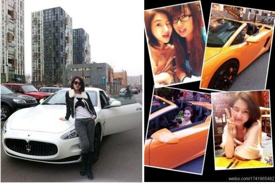 Mientras en Shenzhen conduce un Lamborghini naranja, en Pekín conduce un Maserati blanco (regalo de cumpleaños al llegar a los 20). También tiene un Mini Coper.