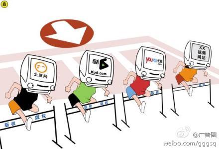 Los principales portales de vídeos on-line (Tudou, Ku6, Youku) se preparan para avanzar en el mercado publicitario. Imagen compartida en Sina Weibo.