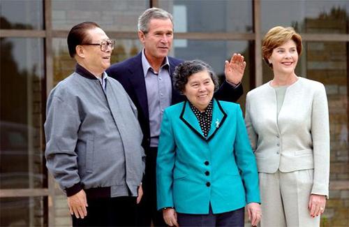Jiang Zemin y su esposa, Wang Yeping, en visita oficial a Estados Unidos.