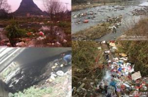 Algunas de las imágenes que han circulado por Sina Weibo sobre la contaminación de los ríos.