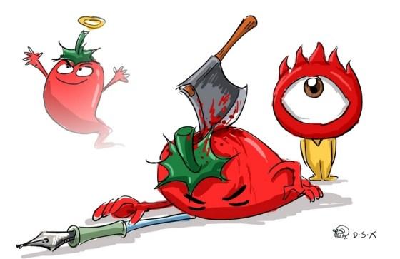 En la imagen, el logo de Sina asesina con un machete al caricaturista Lajiao (辣椒); a su lado, sin embargo, resurge otro Lajiao para reencarnarse en un nuevo usuario.