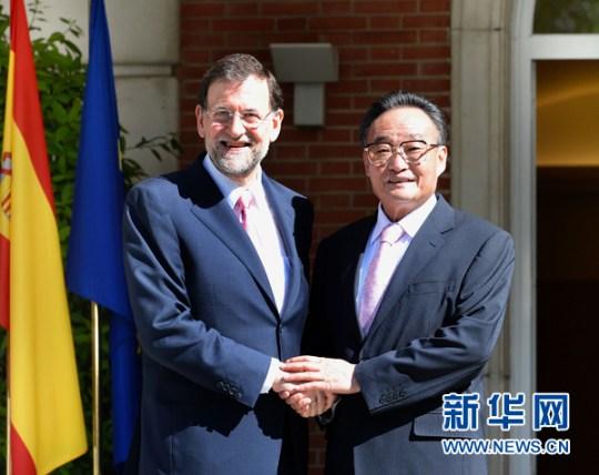 Mariano Rajoy se reúne con Wu Bangguo en 2012, en tiempos menos tensos que los actuales.