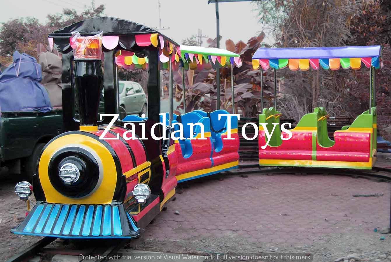 Pabrik mainan wisata anak menjual kereta mini rel full fiber dengan harga murah terbaik Surabaya.
