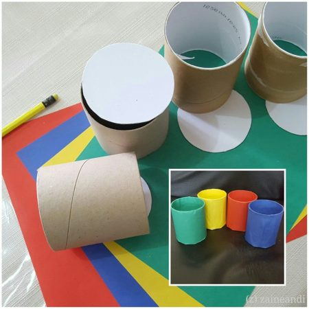 Tissue core turned into containers for home activities