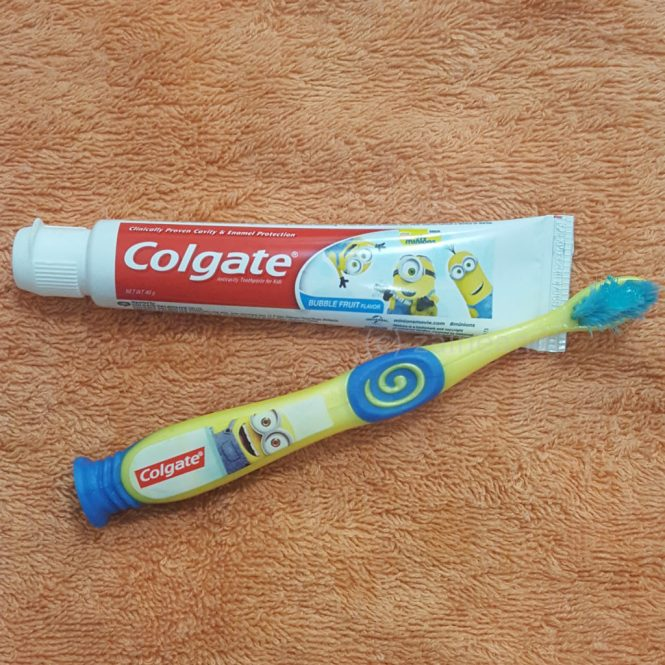 colgate minions toothpaste and toothbrush
