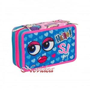Astuccio Scuola 3 Zip Completo Seven Sj Gang Girl Face Bambina Rosa Blu 0