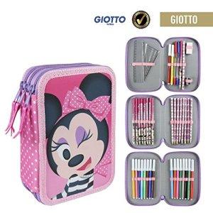 Disney Minnie 2700000241 Astuccio Triplo 3 Scomparti Pennarelli Pastelli Accessori Scuola 42 Pezzi Poliestere Multicolore 0
