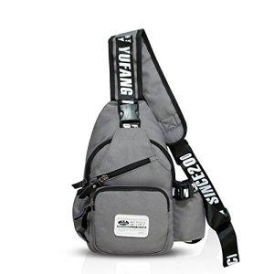 Fandare Mode Sling Bag Monospalla Borse A Spalla Zaino Spalla Borsa A Tracolla Crossbody Bag Borsello Marsupio Zainetto Crossbody Chest Bag Hiking Bag Zaino Uomo Donne Poliestere Grigio 0