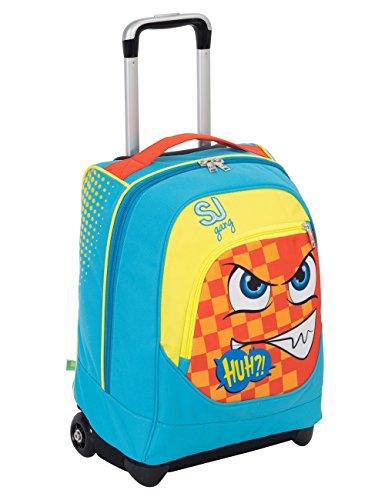 Trolley Big Sj Faccine Azzurro Arancione Giallo 31 Lt Uso Zaino Spallacci A Scomparsa Totale Scuola E Viaggio 0