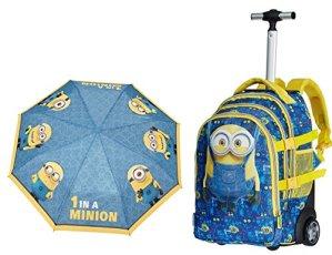 Zaino Trolley Scuola Viaggio Minions Cattivissimo Me Peso Solo 215 Kg 19 X 30 X 48 Cm Ombrello Perletti Omaggio 0