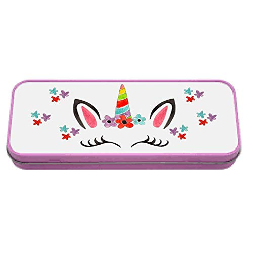 Tigerlilyprints Astuccio In Latta Con Testa Di Unicorno Scatola Di Latta Per Bambini Personalizzabile Regalo Di Compleanno Per Bambini 0