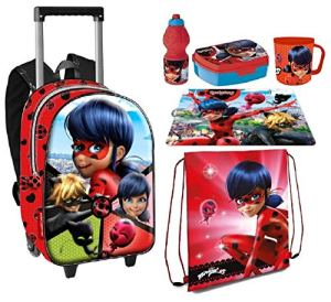 Ltp Ladybug Miraculous Set 6 Pezzi Zainetto Zaino Trolley Sacca Sportbox Colazione Merenda Scuola 0
