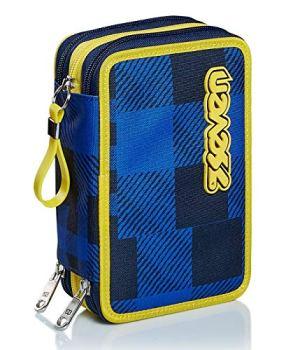 Astuccio 3 Scomparti Seven Check Blu Completo Di Matite Penne Pennarelli 0