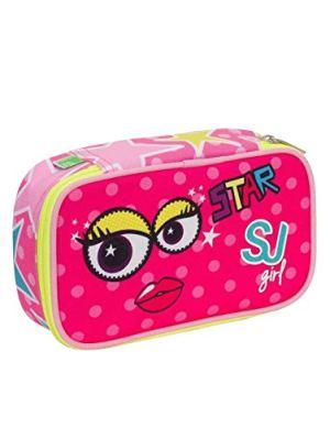 Sj Astuccio Portapenne Organizzato Girl Facce Quick Case Rosa 0