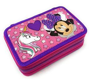 Minnie Mouse Astuccio Scuola 3 Zip Minnie Topolina Completo Di 44 Pezzi Prodotto Ufficiale Disney Viola 0