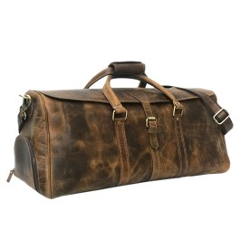 Hunter Brown Leather Travel Bag With Shoe Compartment