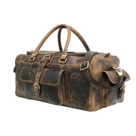 Light Brown 24 inch Leather Weekender Bag