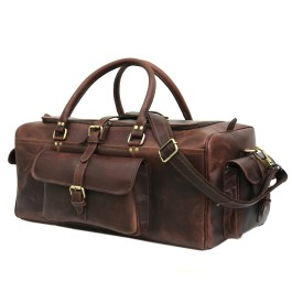 Hunter Dark Brown Genuine Buffalo Leather Weekend Bag