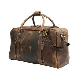 Dark Brown Leather Duffle Bag