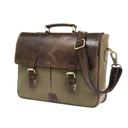 Waxed Canvas Leather Laptop Messenger Portfolio Bag