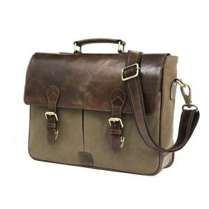 Waxed Canvas Leather Laptop Messenger Portfolio Bag