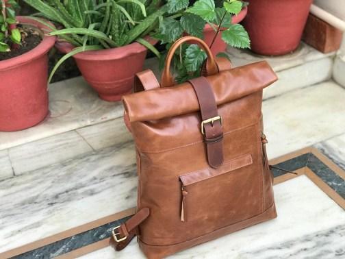 Zakara Leather Roll Top Backpack