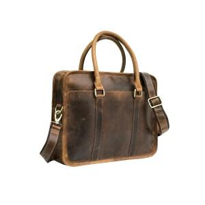 Hunter Brown Buffalo Leather Laptop Bag