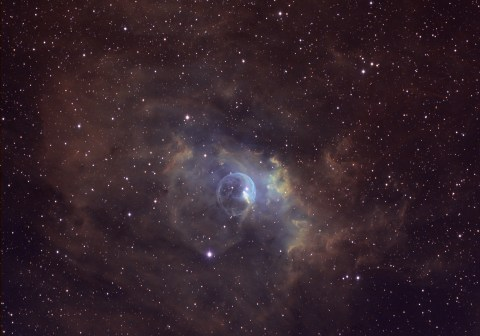 NGC 7635 Bubble Nebula in Narrowband False Color