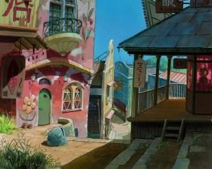 ghibli fond peinture-chihiro ville