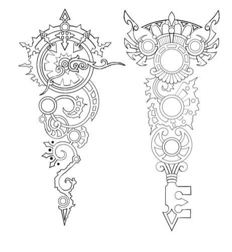 Horloge Montre Steampunk Steampunk_Clock_and_Key_tattoo_by_Annikki