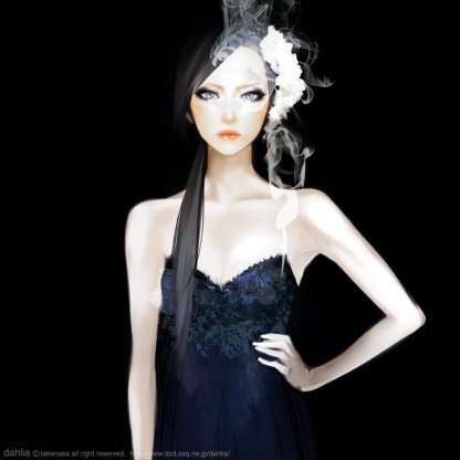 fille dessin robe noire