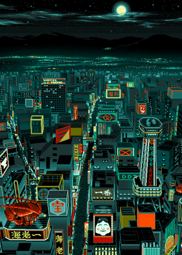 pixel art ville nuit
