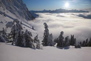 paysage neige nuage montagne