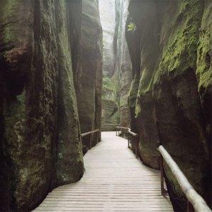 chemin au milieu des roches