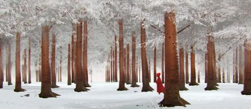 dessin petit chaperon rouge foret neige