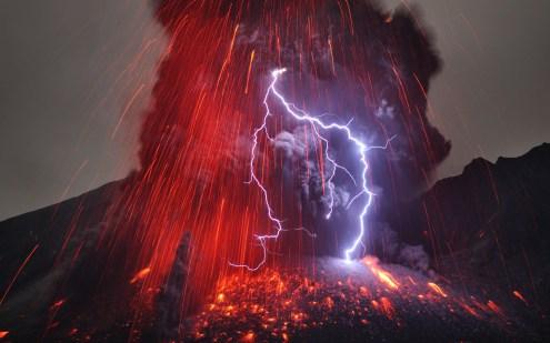 Sakurajima Volcano with Lightning