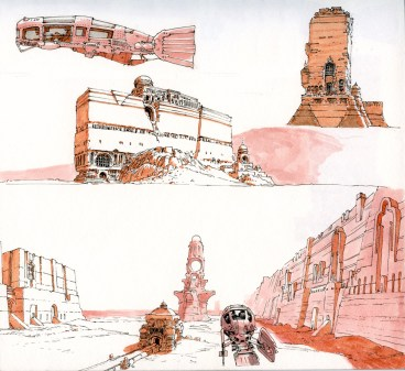ville desert dessin vaisseau
