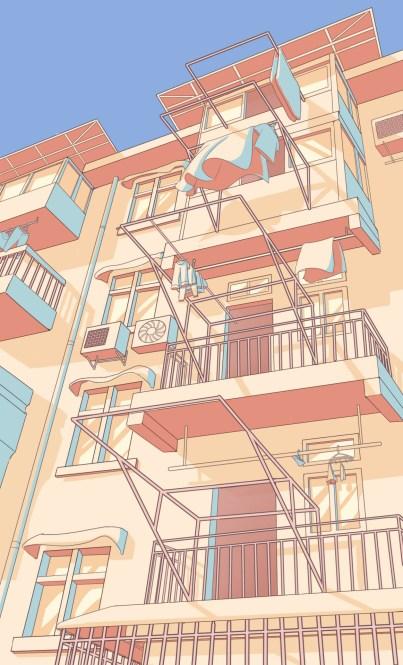 dessin immeuble 4 couleurs