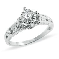 1/6 CT. T.W. Diamond Promise Ring in 10K White Gold ...