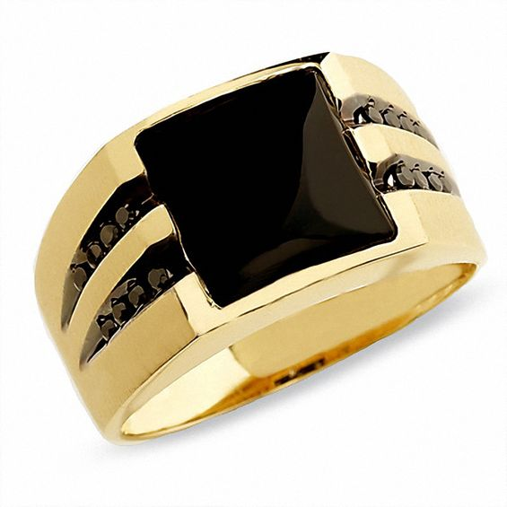 Mens Onyx Ring In 10K Gold With Enhanced Black Diamonds