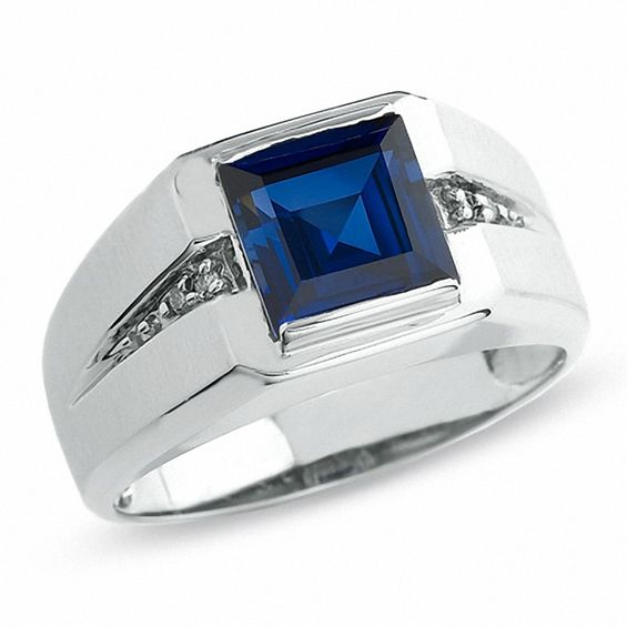 Mens LabCreated Blue Sapphire Ring in 10K White Gold