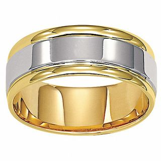 Mens 80mm Comfort Fit Wedding Band In 14K Two Tone Gold