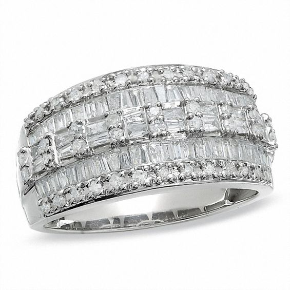 1 CT TW Baguette And Round Diamond Three Row Ring In