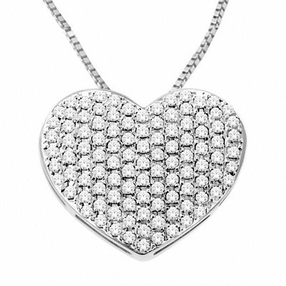 1/2 CT. T.W. Diamond Pavé Puff Heart Pendant in 10K White