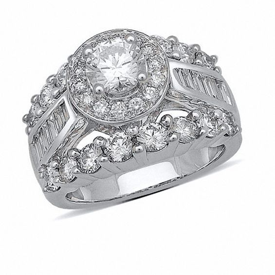 312 CT TW Baguette and Round Diamond Engagement Ring