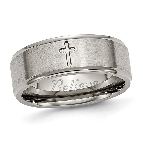 Men S 8 0mm Engraved Cutout Cross Wedding Band In Titanium 1 Line Personalized Rings