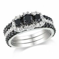 2 CT. T.W. Enhanced Black and White Diamond Bridal Set in
